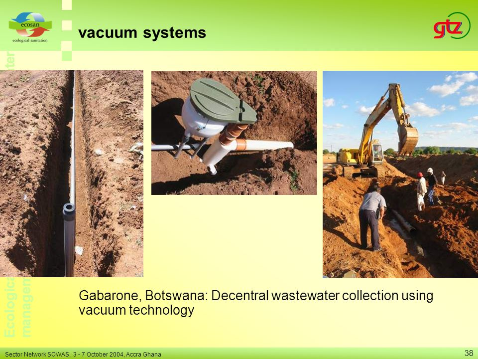 vacuum systems Gabarone, Botswana: Decentral wastewater collection using vacuum technology.