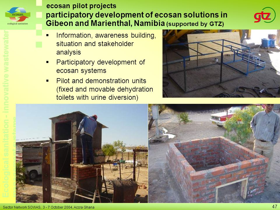ecosan pilot projects participatory development of ecosan solutions in Gibeon and Marienthal, Namibia (supported by GTZ)