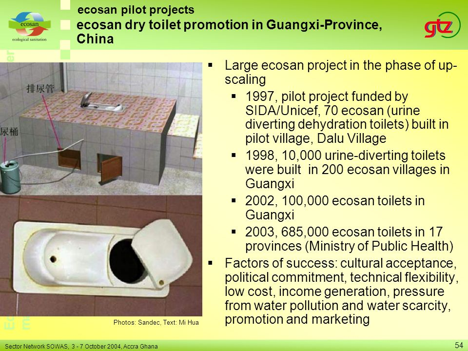 ecosan dry toilet promotion in Guangxi-Province, China