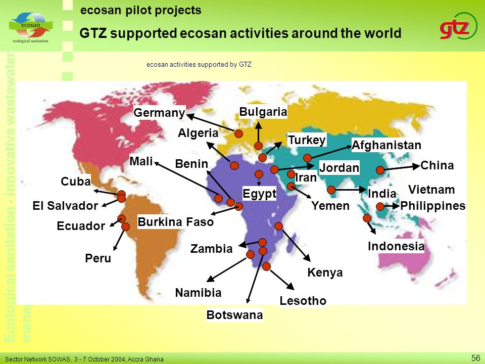 GTZ supported ecosan activities around the world