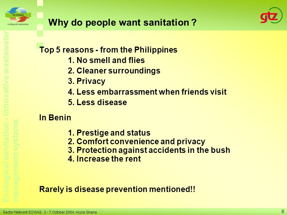 Why do people want sanitation