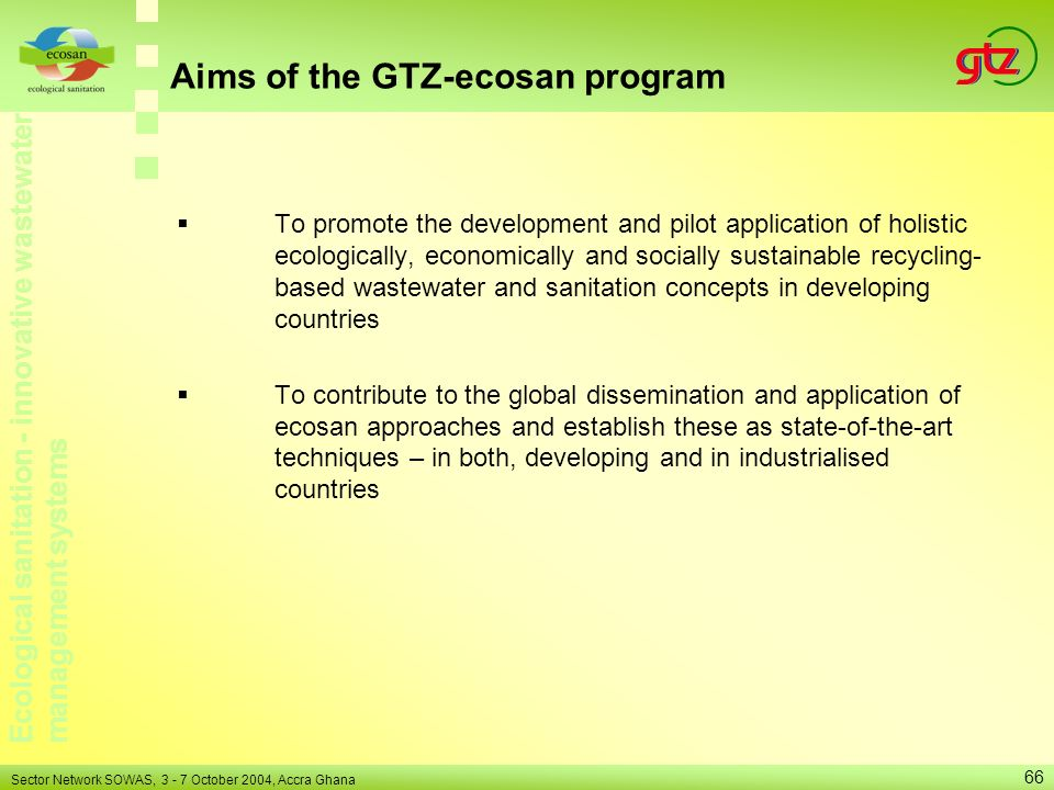 Aims of the GTZ-ecosan program