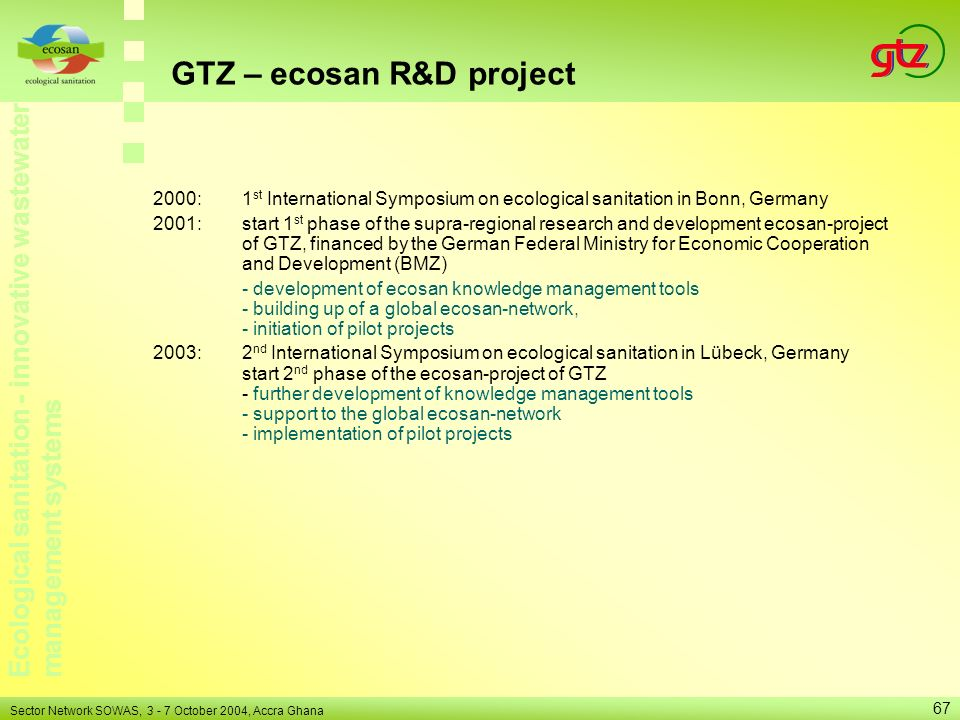 GTZ – ecosan R&D project