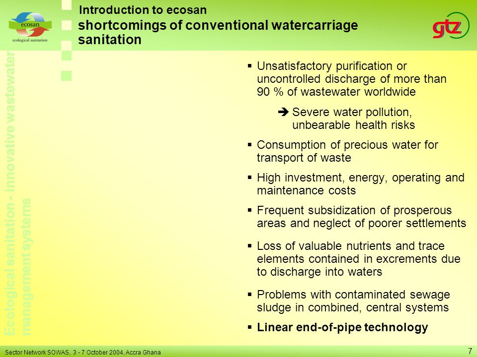shortcomings of conventional watercarriage sanitation