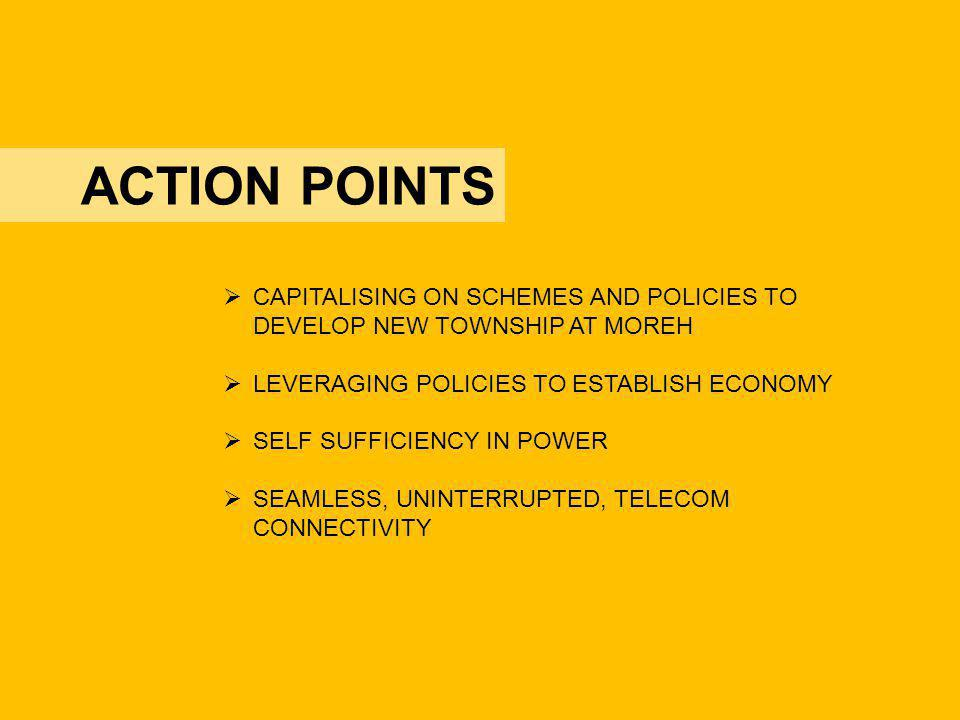 ACTION POINTS CAPITALISING ON SCHEMES AND POLICIES TO DEVELOP NEW TOWNSHIP AT MOREH. LEVERAGING POLICIES TO ESTABLISH ECONOMY.