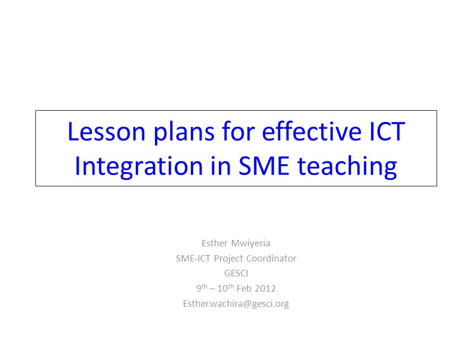 Lesson plans for effective ICT Integration in SME teaching