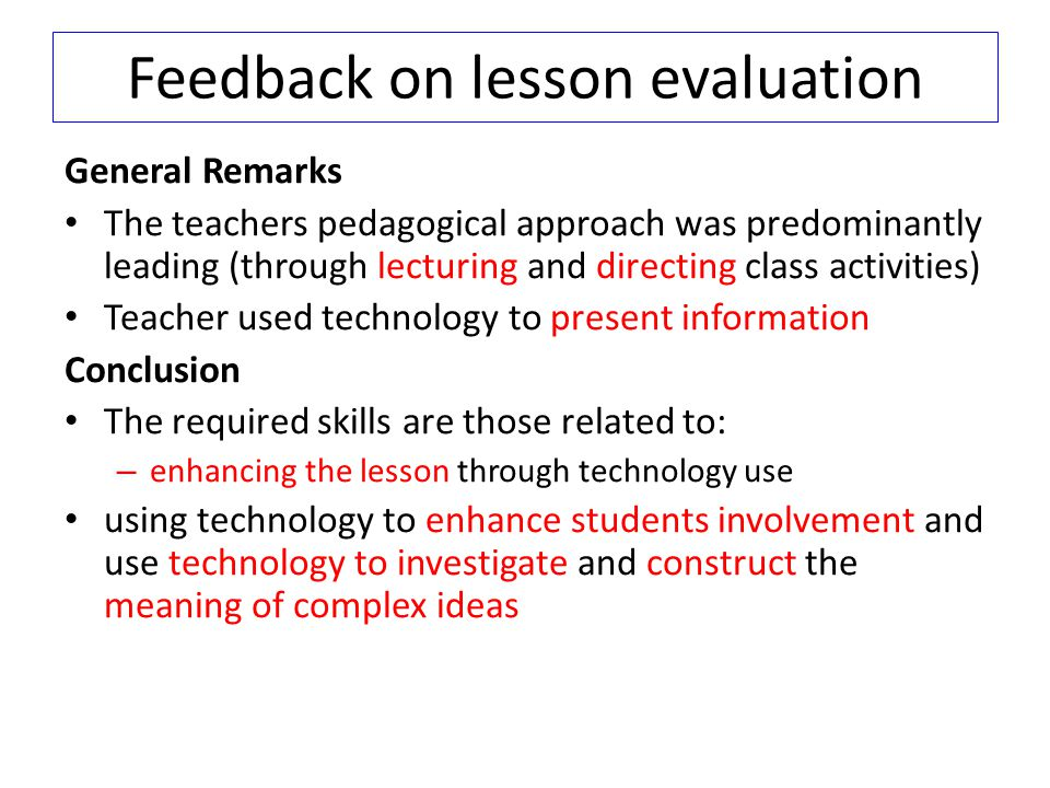 Feedback on lesson evaluation