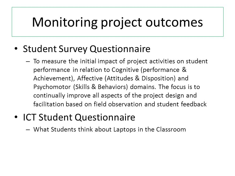 Monitoring project outcomes