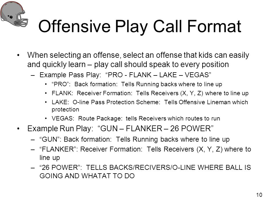 Offensive Play Call Format