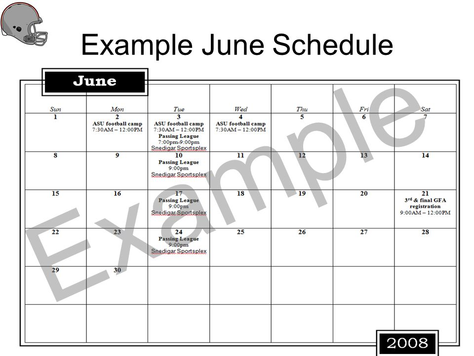 Example June Schedule Example
