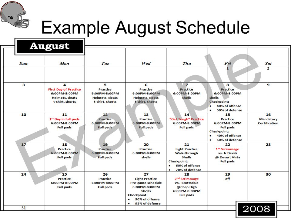 Example August Schedule