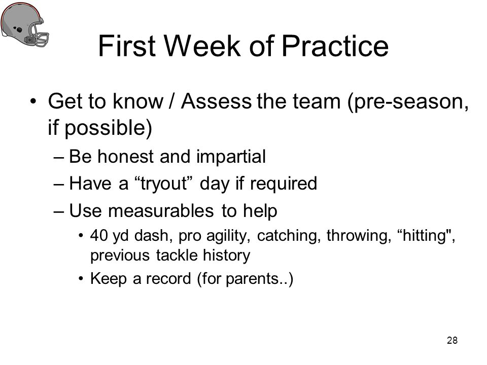 First Week of Practice Get to know / Assess the team (pre-season, if possible) Be honest and impartial.