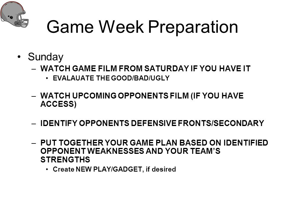 Game Week Preparation Sunday