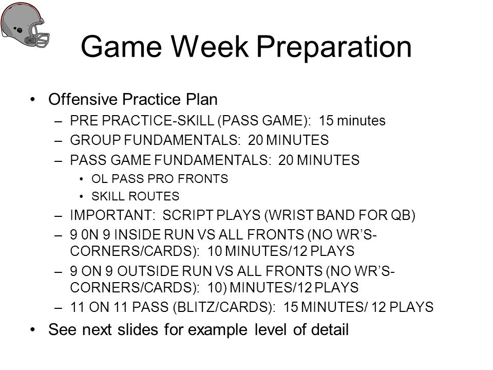 Game Week Preparation Offensive Practice Plan