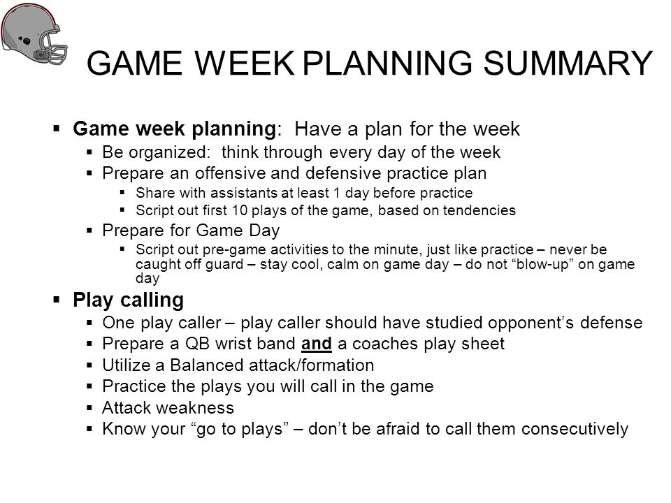 GAME WEEK PLANNING SUMMARY