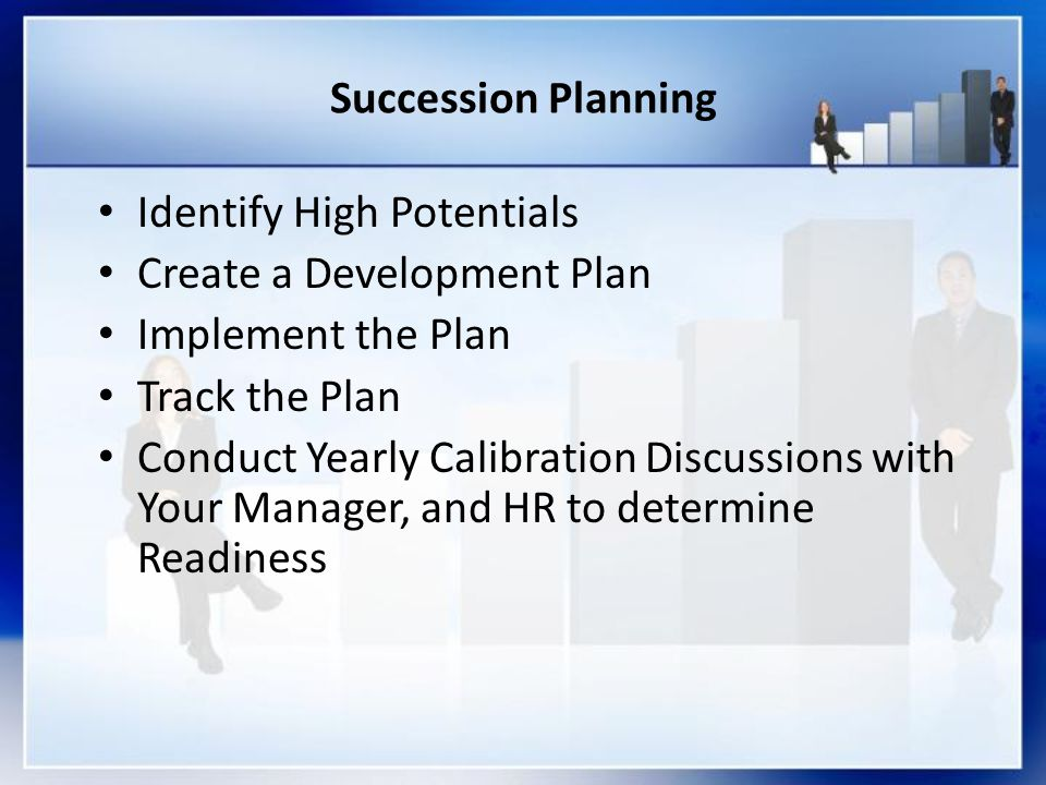 Succession Planning Identify High Potentials. Create a Development Plan. Implement the Plan. Track the Plan.