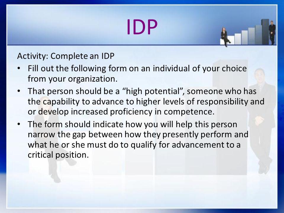 IDP Activity: Complete an IDP