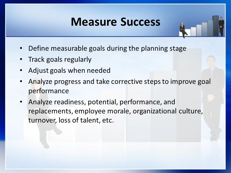 Measure Success Define measurable goals during the planning stage