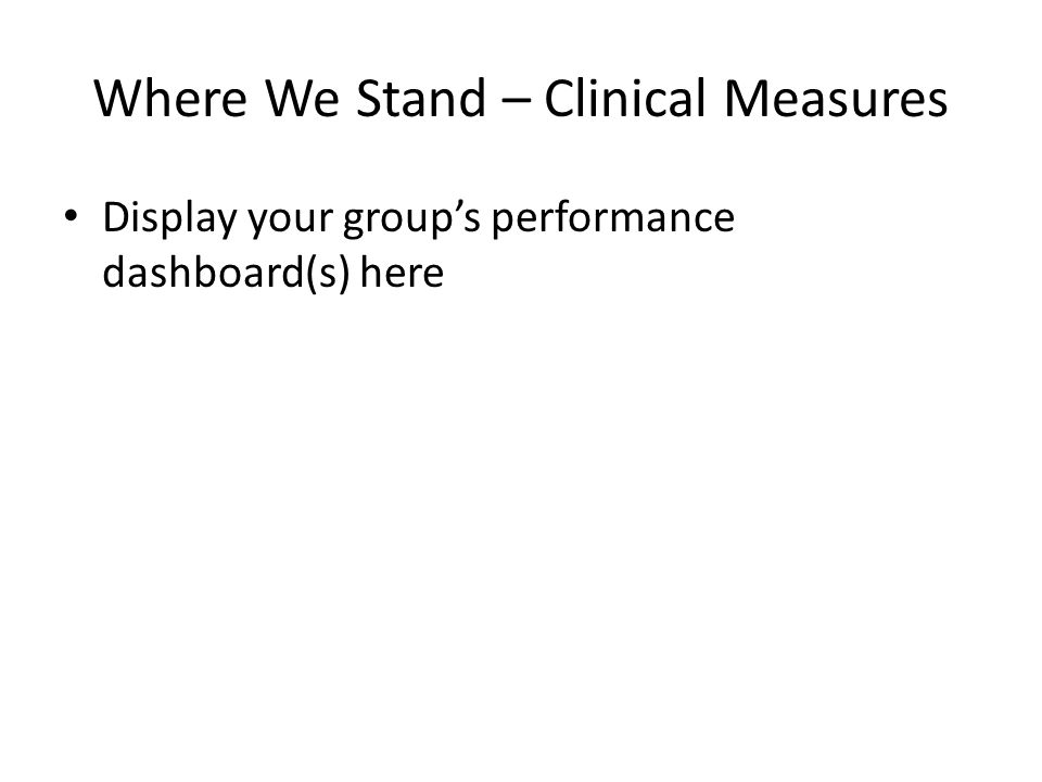 Where We Stand – Clinical Measures