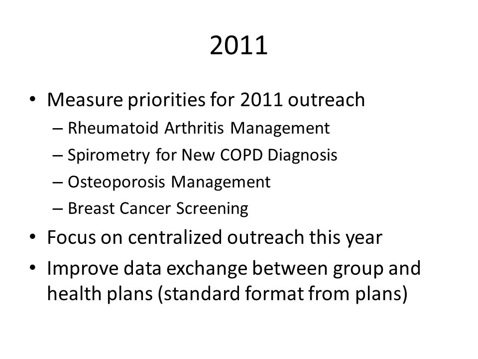 2011 Measure priorities for 2011 outreach