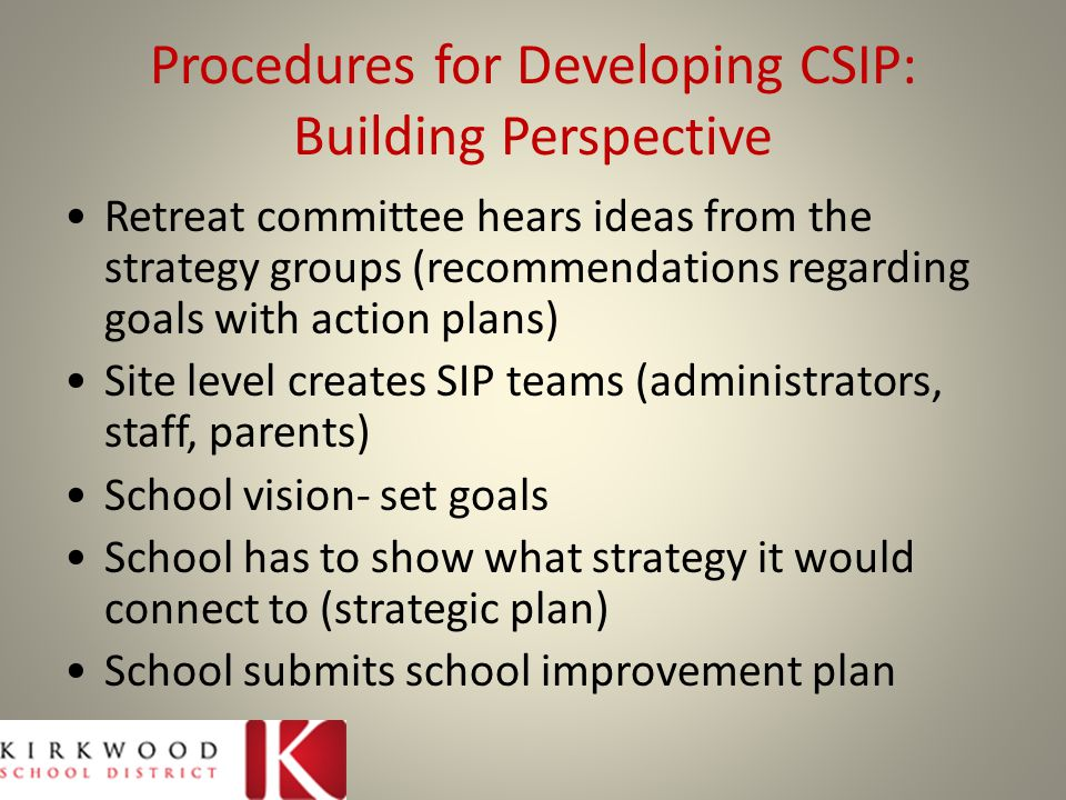 Procedures for Developing CSIP: Building Perspective