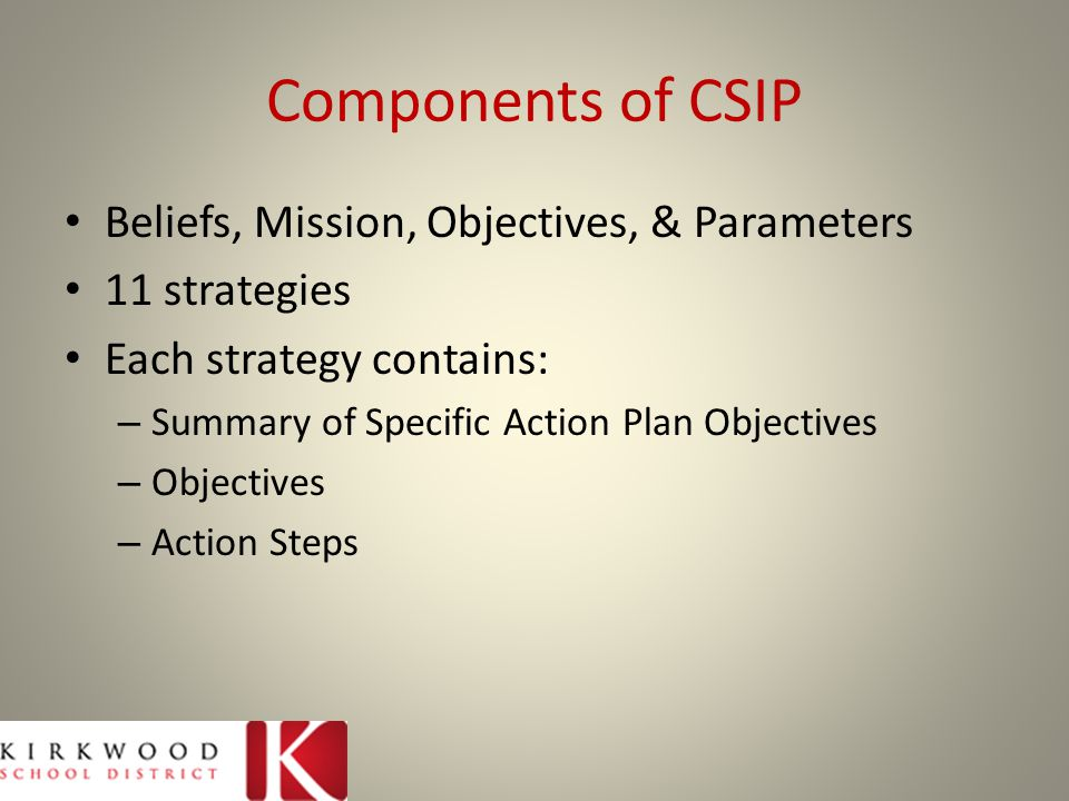 Components of CSIP Beliefs, Mission, Objectives, & Parameters