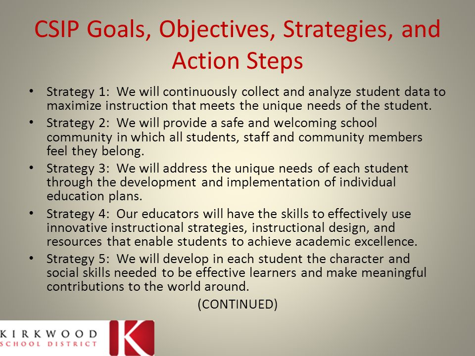 CSIP Goals, Objectives, Strategies, and Action Steps