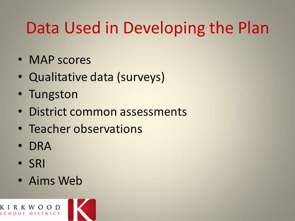 Data Used in Developing the Plan