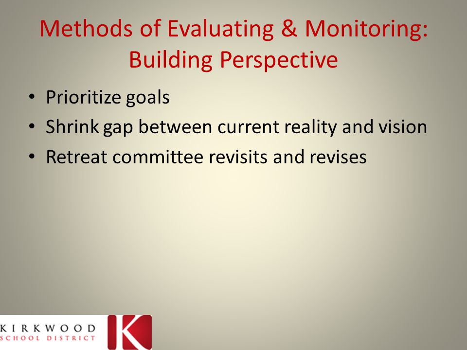 Methods of Evaluating & Monitoring: Building Perspective