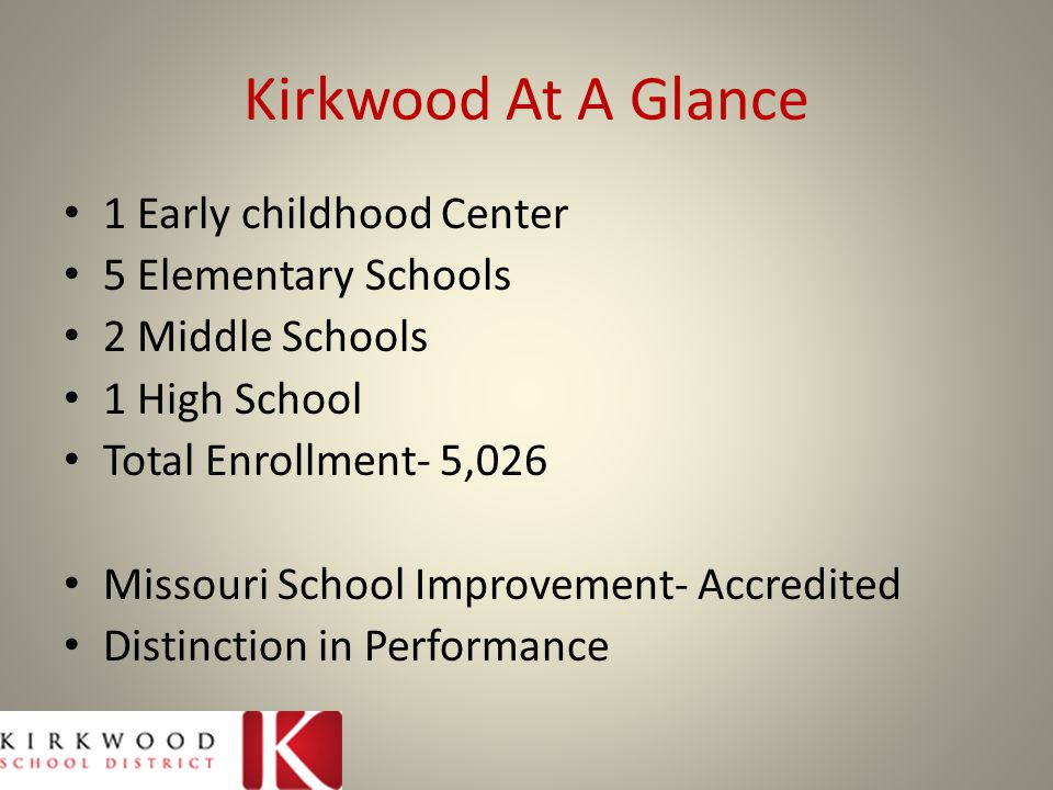 Kirkwood At A Glance 1 Early childhood Center 5 Elementary Schools