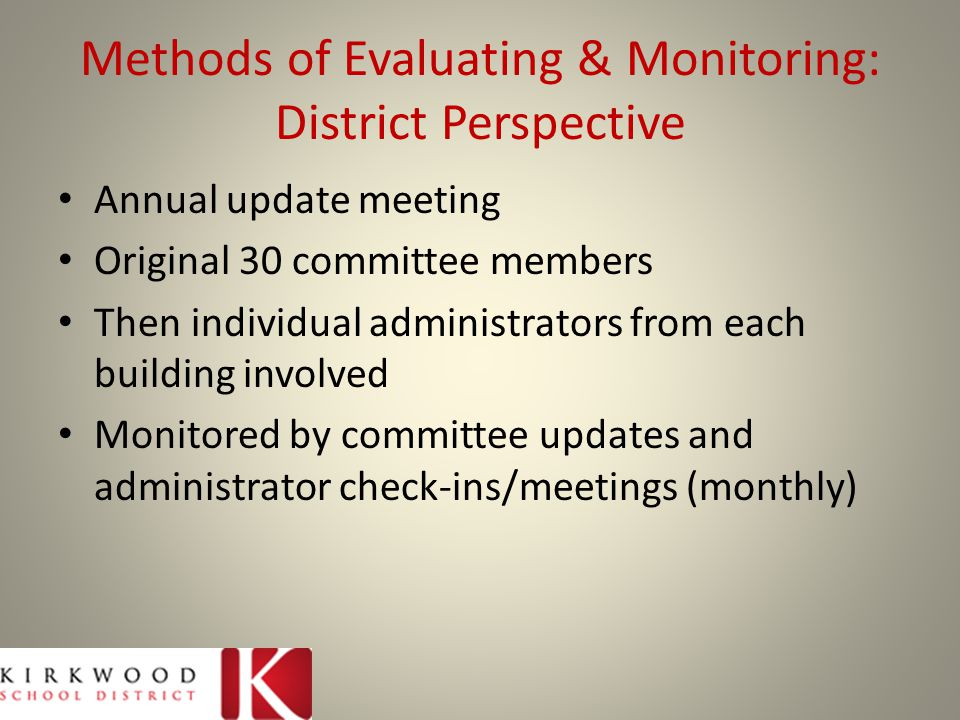 Methods of Evaluating & Monitoring: District Perspective