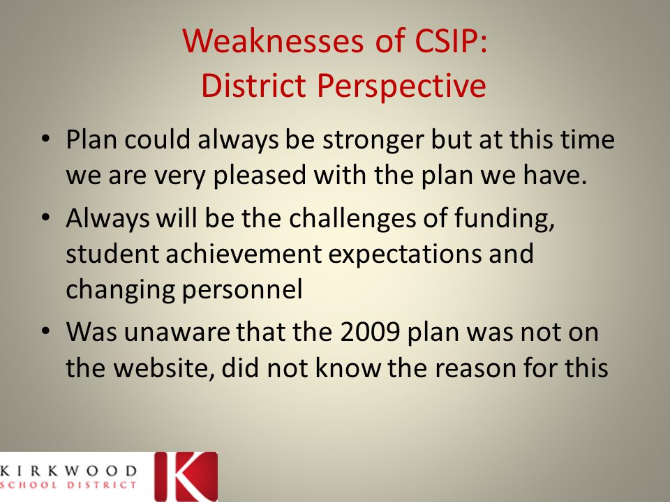 Weaknesses of CSIP: District Perspective