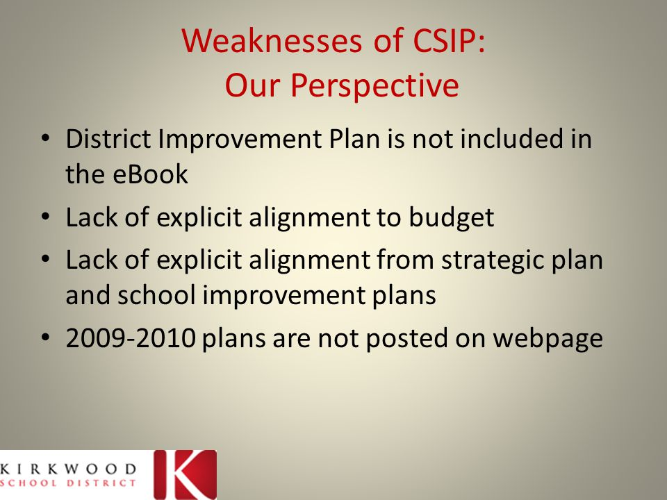 Weaknesses of CSIP: Our Perspective