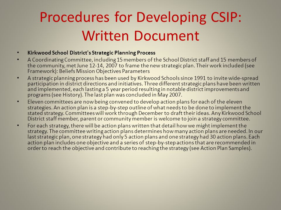 Procedures for Developing CSIP: Written Document