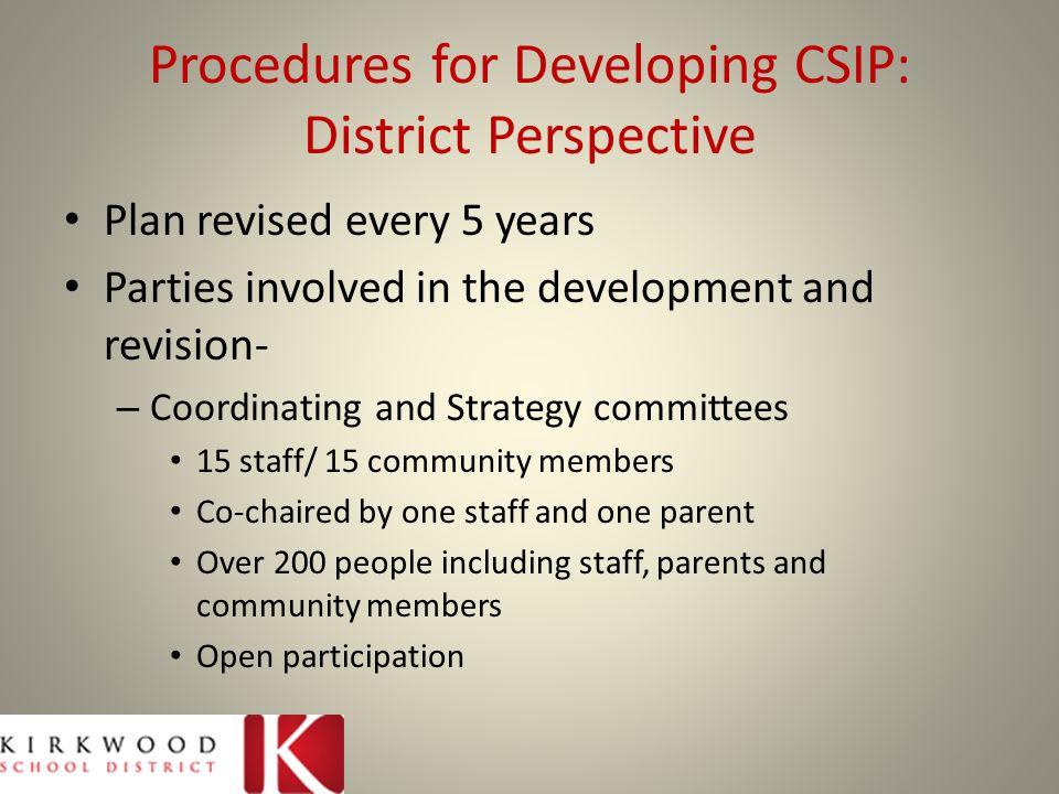 Procedures for Developing CSIP: District Perspective