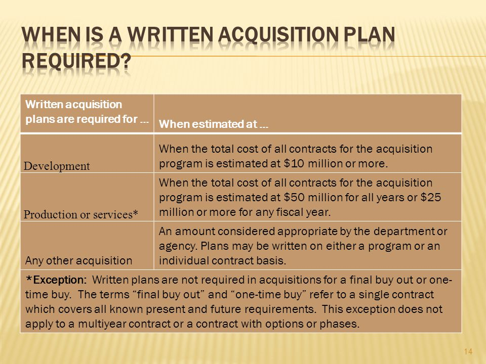 When is a written acquisition plan required