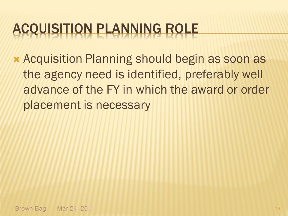 Acquisition Planning role