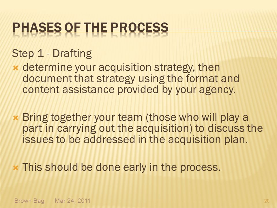 Phases of the process Step 1 - Drafting