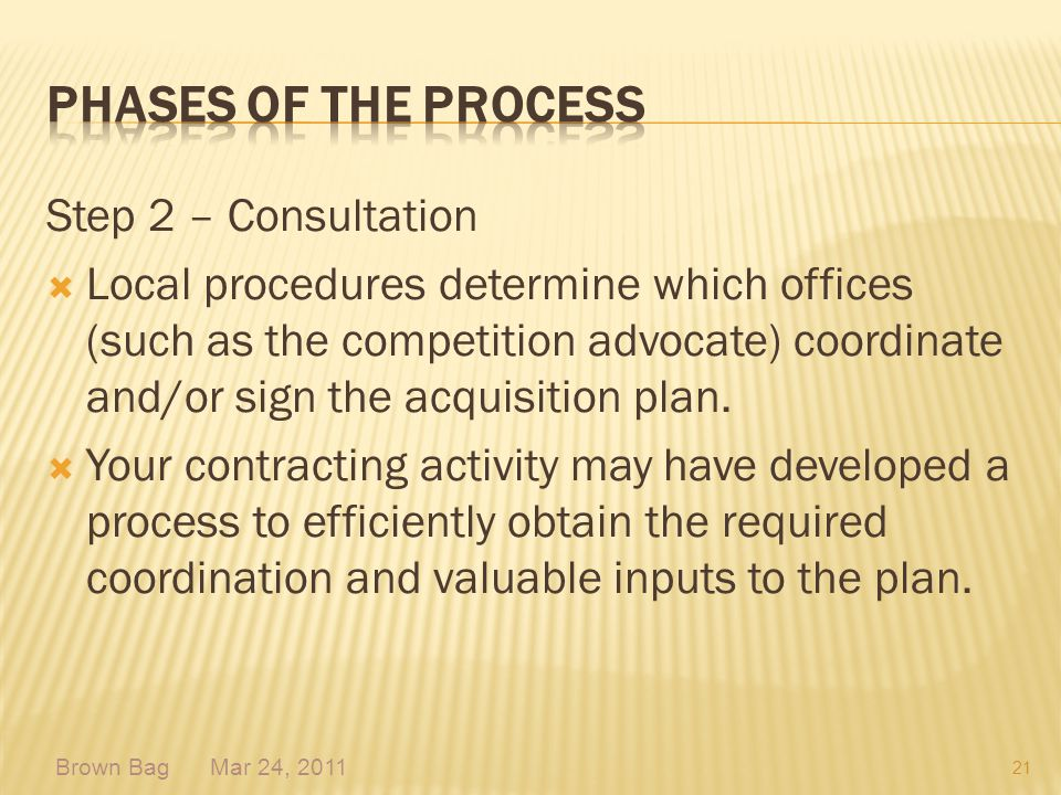 Phases of the process Step 2 – Consultation