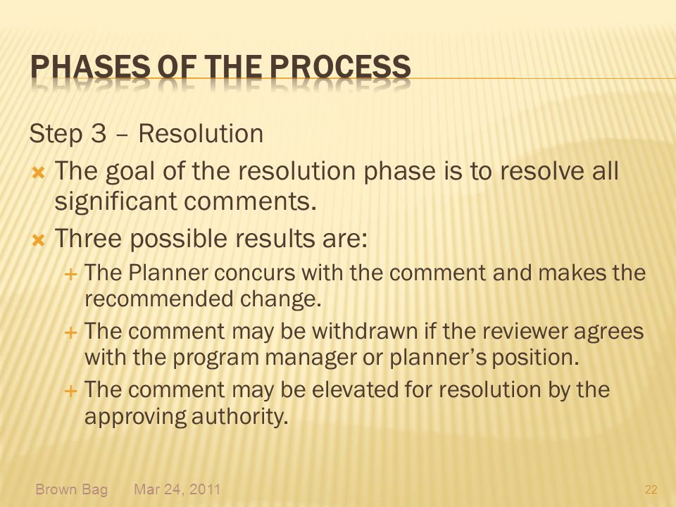 Phases of the process Step 3 – Resolution