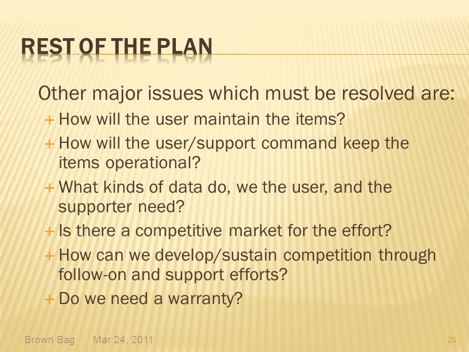 Rest of the plan Other major issues which must be resolved are: