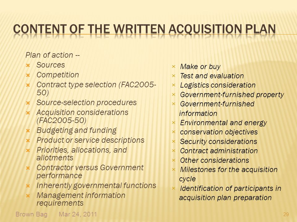 Content of the Written Acquisition Plan