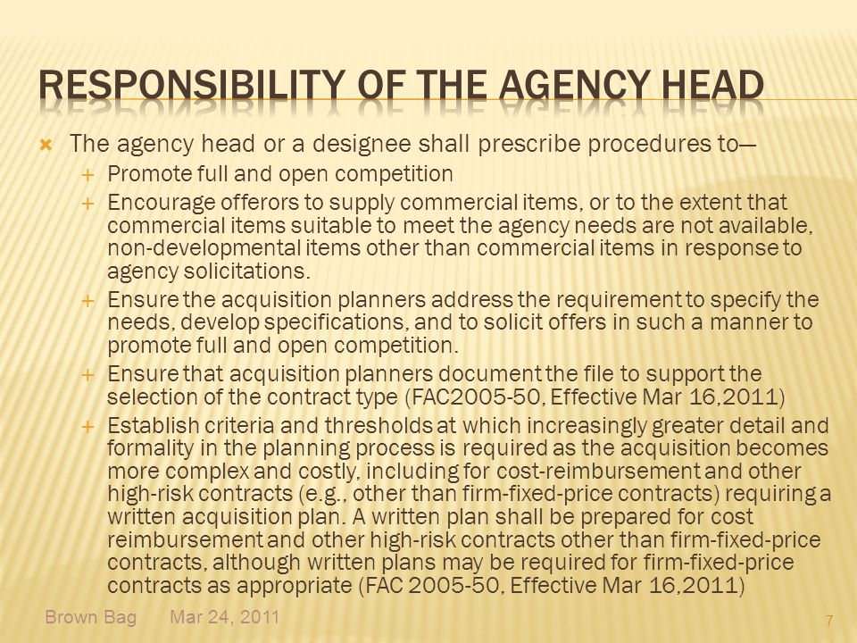 Responsibility of the Agency Head