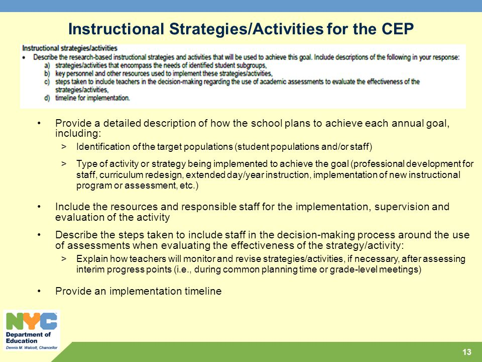 Instructional Strategies/Activities for the CEP