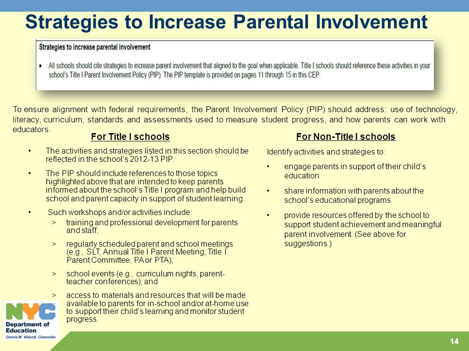 Strategies to Increase Parental Involvement
