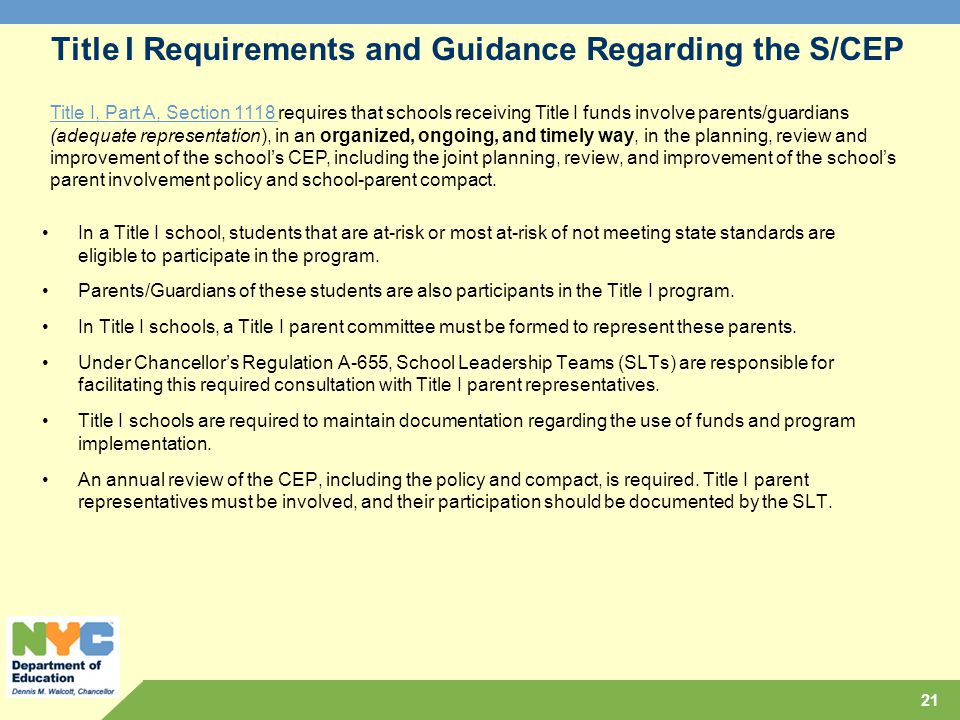 Title I Requirements and Guidance Regarding the S/CEP