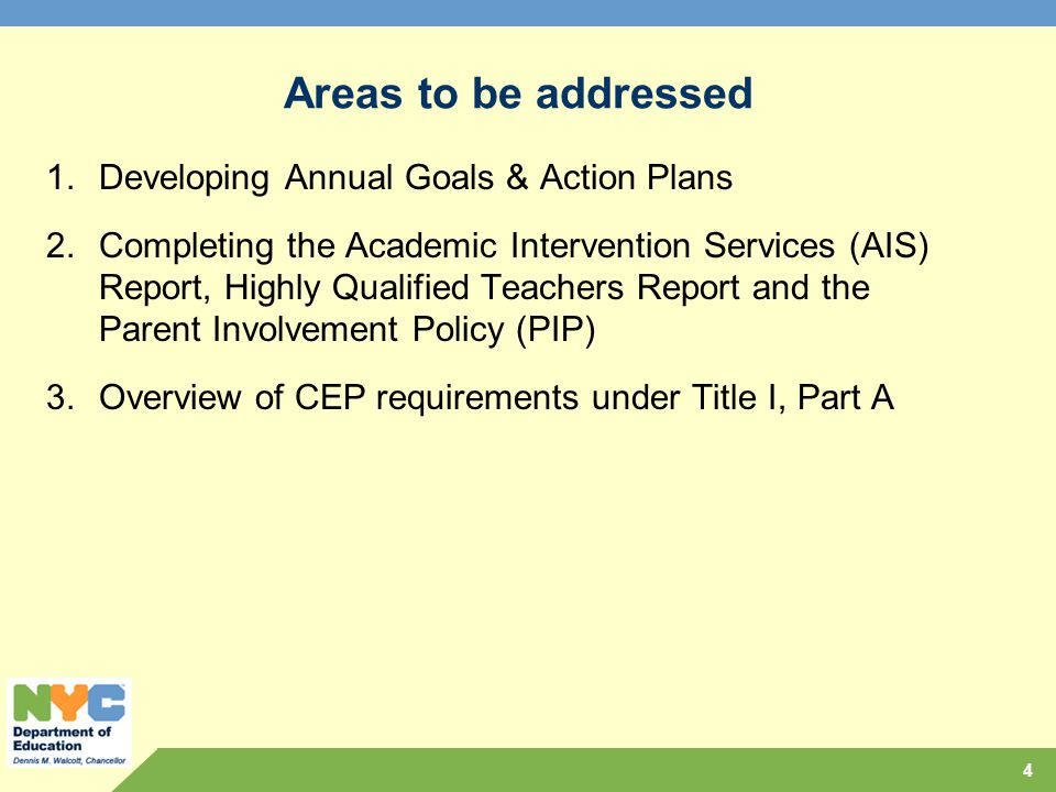 Areas to be addressed Developing Annual Goals & Action Plans