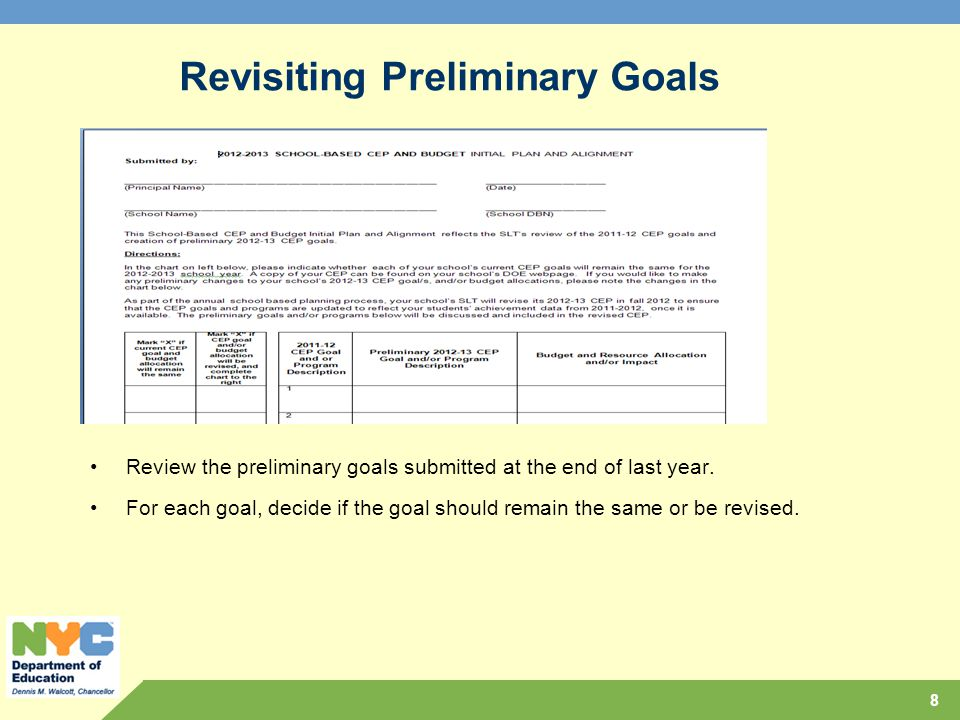 Revisiting Preliminary Goals