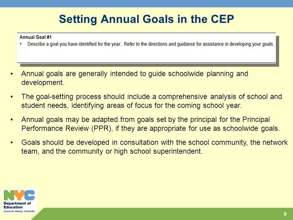 Setting Annual Goals in the CEP