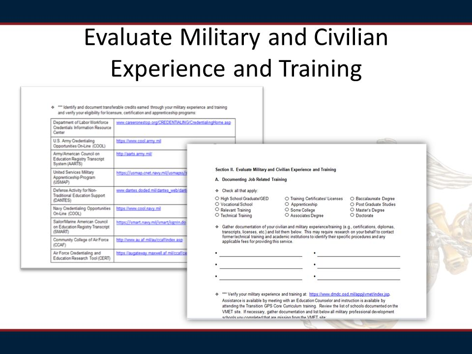 Evaluate Military and Civilian Experience and Training